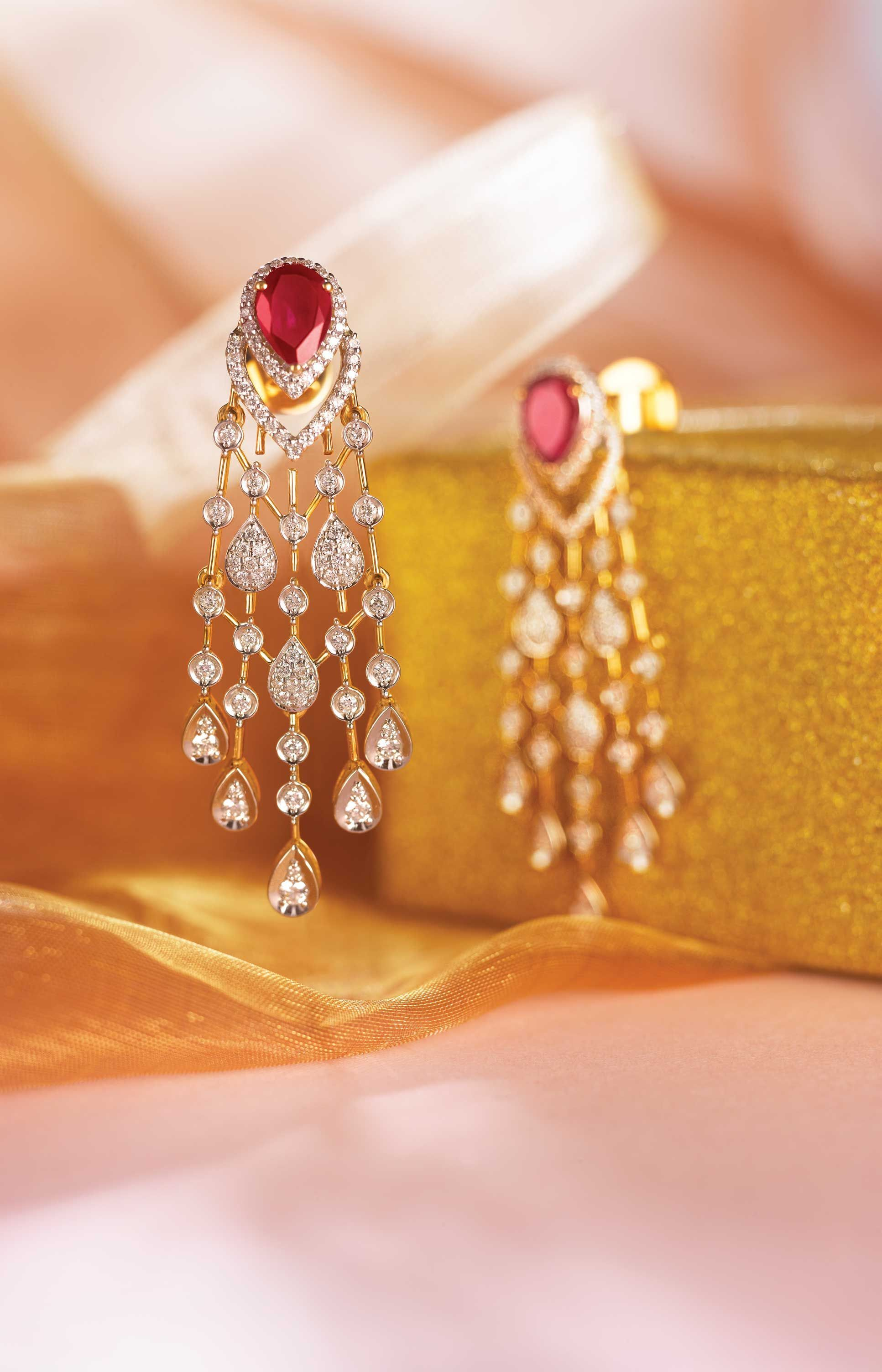 Ruby and diamond dangling earrings to match your grace