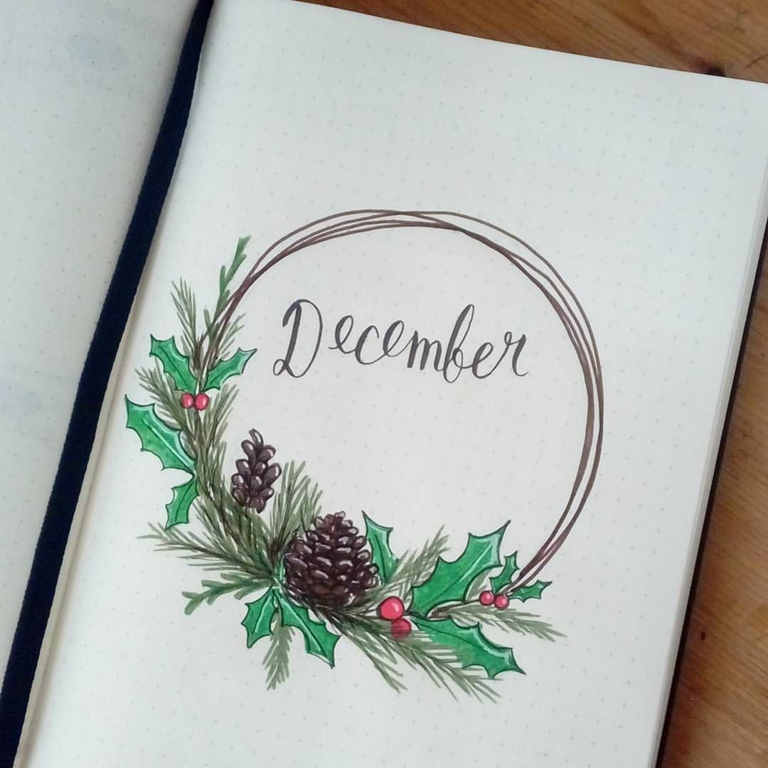 """Photo of @crafter.pillar on Instagram: """"Here's my December theme! Went with a classic Christmas and winter theme. I honestly just wanted to try a wreath 😃 . #bulletjournal #bujo…"""""""