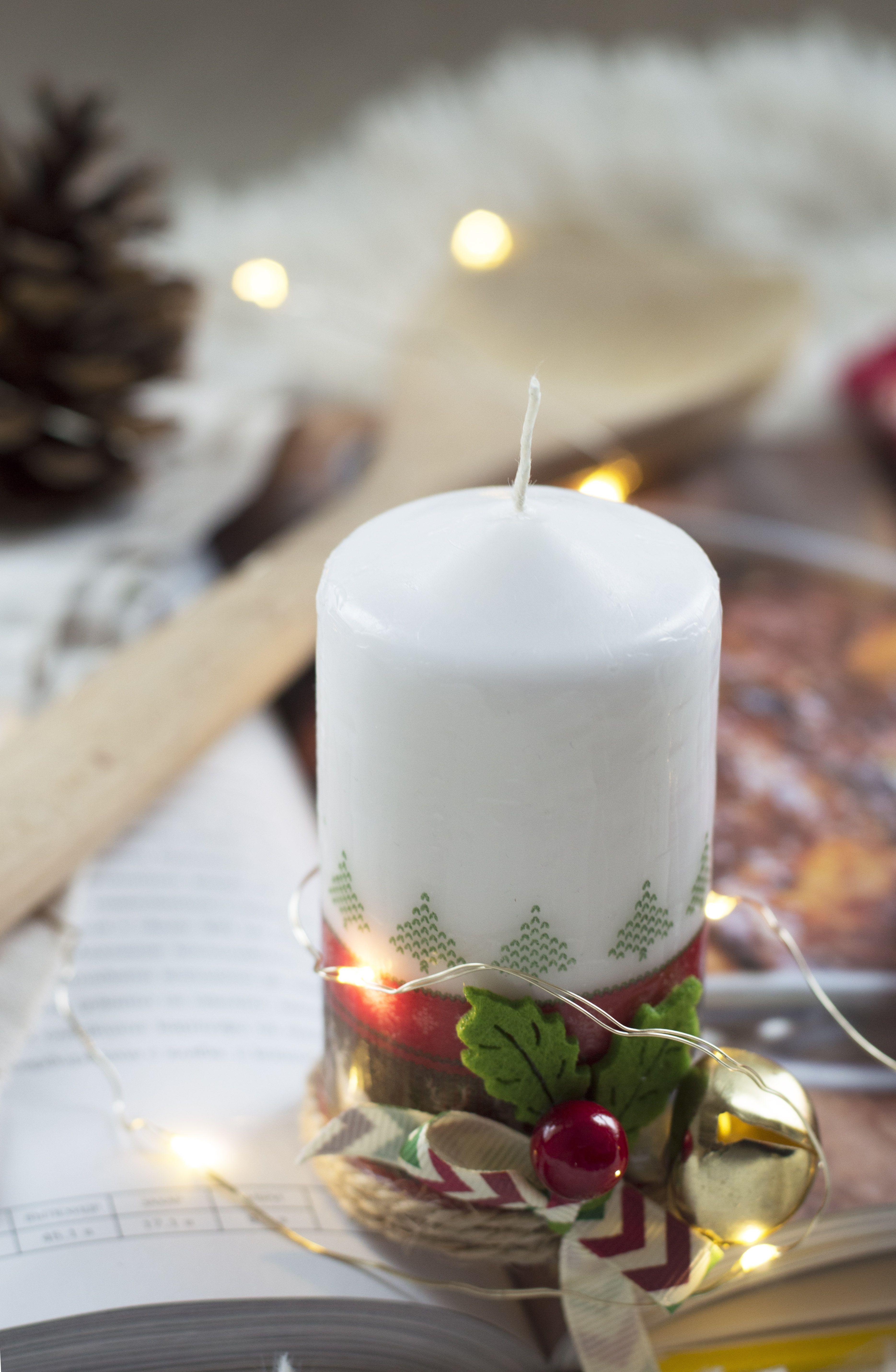 Decoupage hand made Christmas Pillar Candle Holiday t