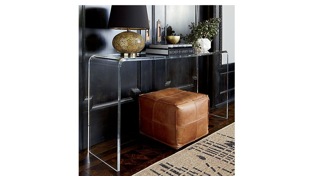 Peekaboo 56 Acrylic Console Table Reviews Cb2 Console Table Leather Pouf Decor