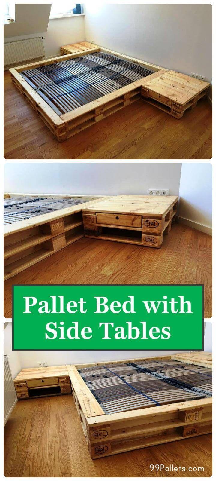 Gemütliche Paletten Bett mit Beistelltisch #palletbedroomfurniture