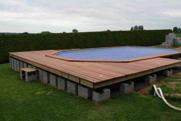 Construction de la plage piscine bois piscine terrasse - Hivernage piscine bois semi enterree ...