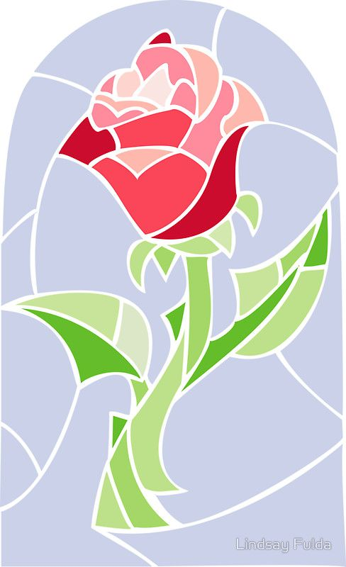 Stain Glass Rose La Belle Et La B 234 Te Sticker Tale As