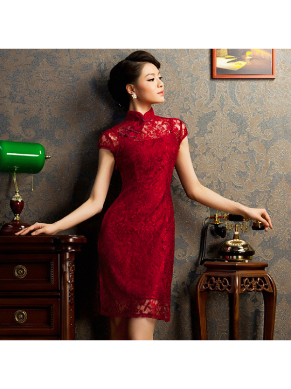 90c4fd58268 traditional chinese clothing traditional chinese dress Burgundy red floral lace  modern qipao short Chinese cheongsam dress Wedding Dresses