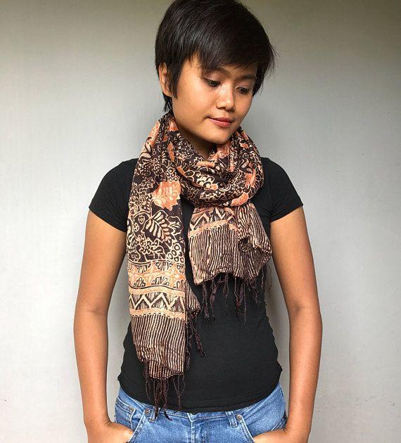 Brown Orange Silk Batik Scarf (IM19) Silk Batik Scarf