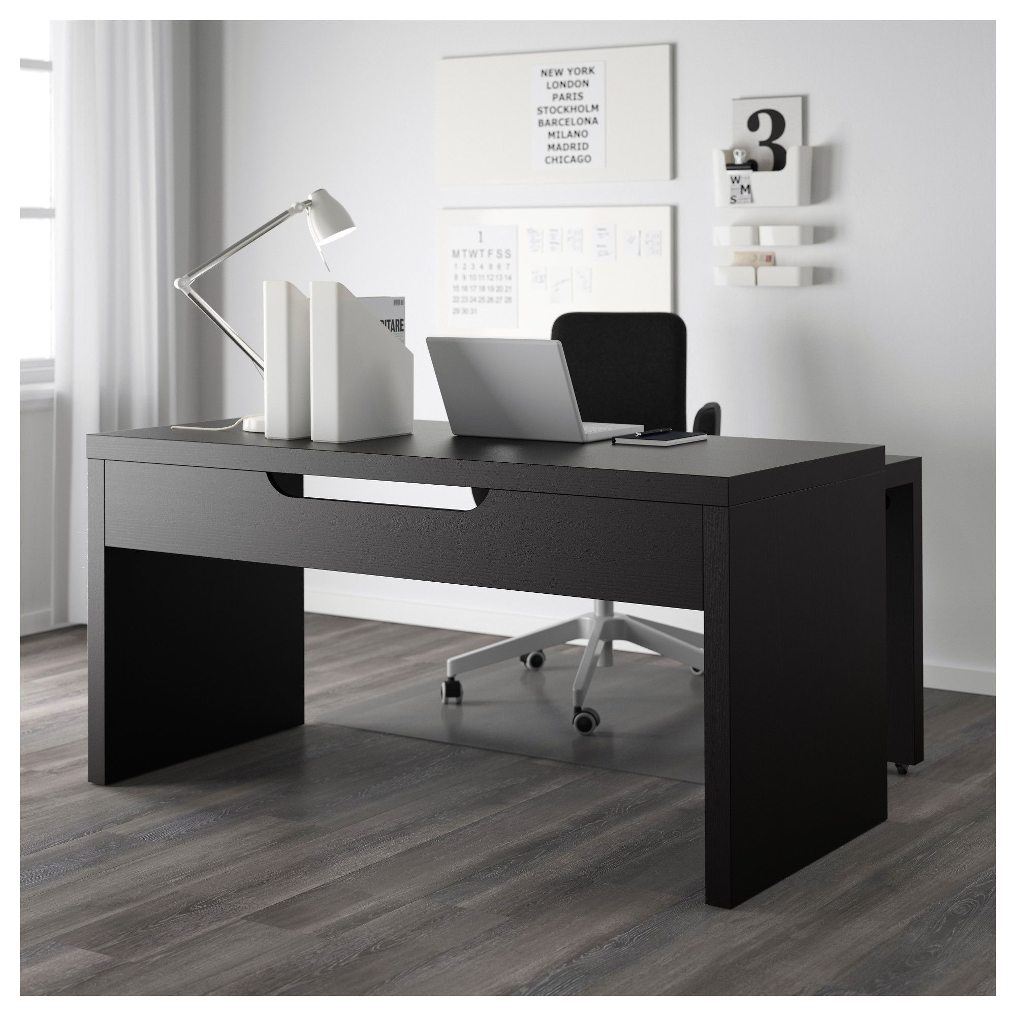 Ikea Malm Desk With Pull Out Panel Black Brown Modern Home