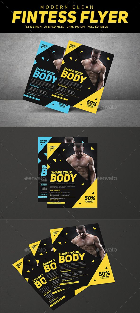 Modern Fitness Flyer Pinterest Sports Clubs Flyer Template And
