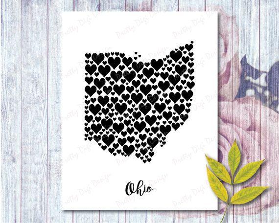 Ohio Wall Art ohio digital heart map jpg, png, pdf eps, ohio wall art, ohio