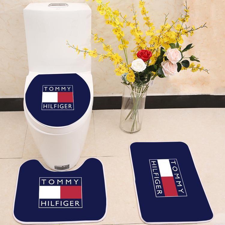 Tommy Hilfiger Logo Toilet Rug Lid Cover 3 Piece Bath Mat Set