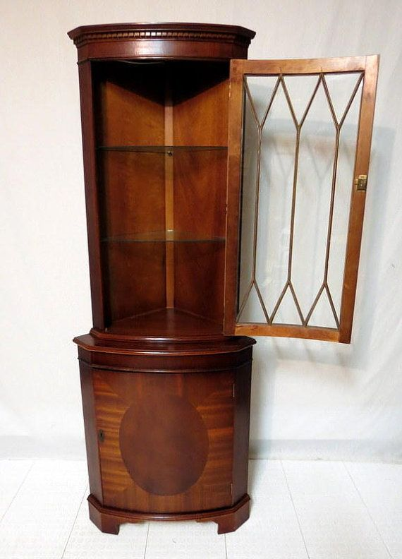 Vintage Antique Duncan Phyfe Sheraton Oval Inlaid Mahogany Bow Front Corner  Cabinet China Cabinet Display Curio