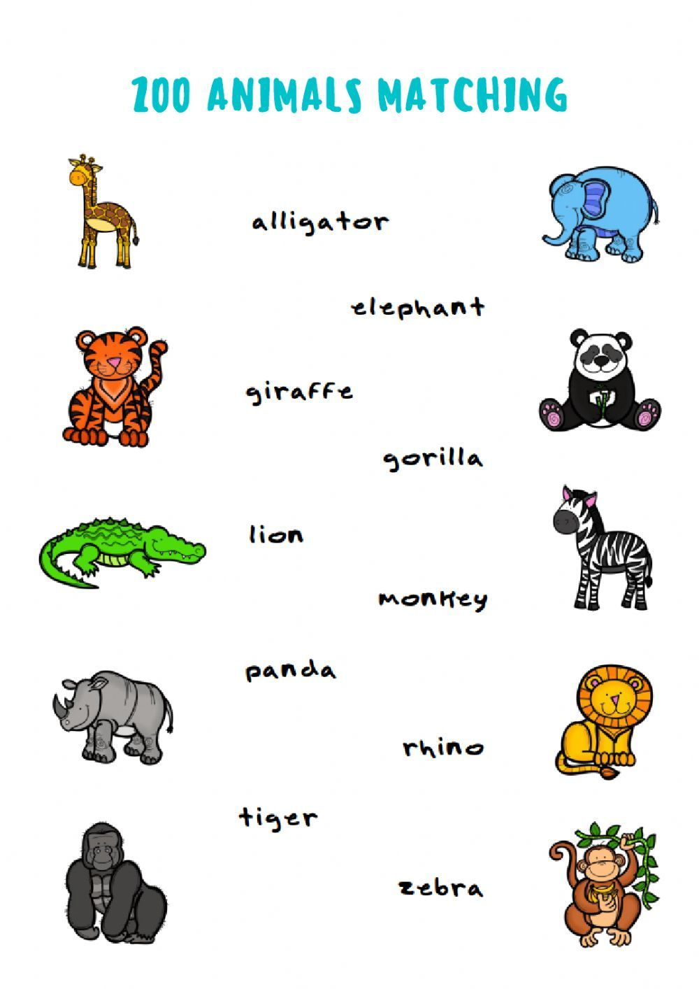 small resolution of Zoo Animals Matching - Interactive worksheet   Zoo animals