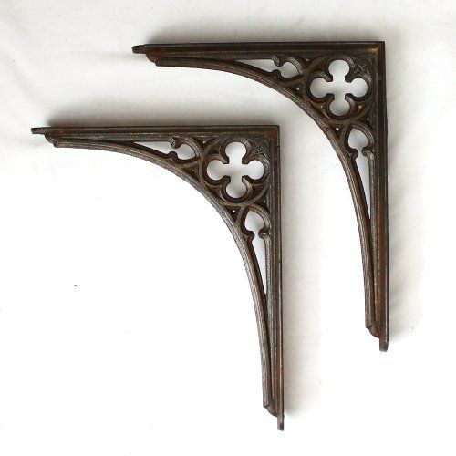 a lovely pair of original victorian cast iron shelf brackets complete with lozenge rd mark no chips cracks or missing bits