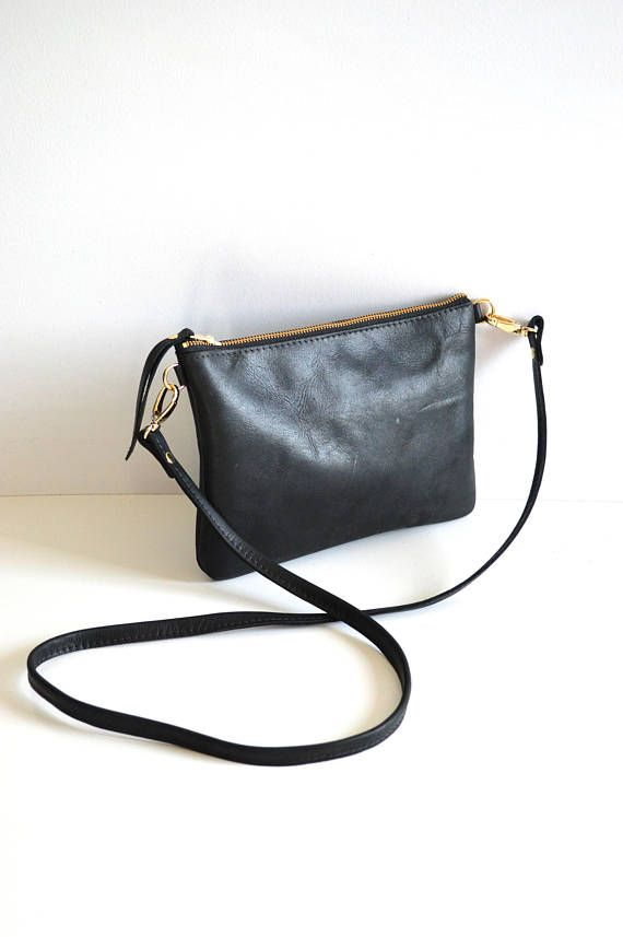 a8333d3ae0d0 Black Leather Crossbody Bag Leather Purse Minimalist Bag Small ...