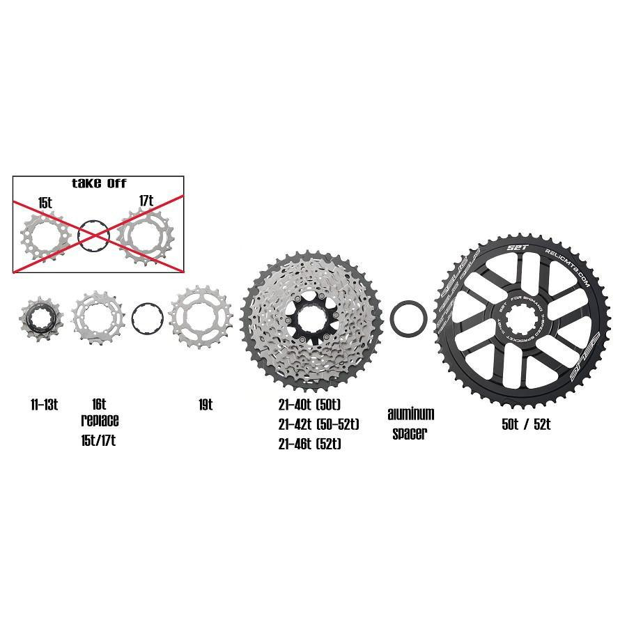 Relic 52T MTB Sprocket Kit for Shimano 11 Spd - 11-42T / 46T