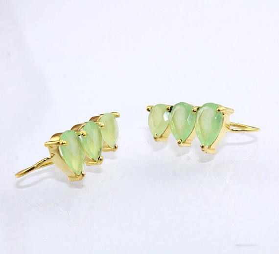 3 Drop Shape Green Chalcedony Ear Climbers Made to order