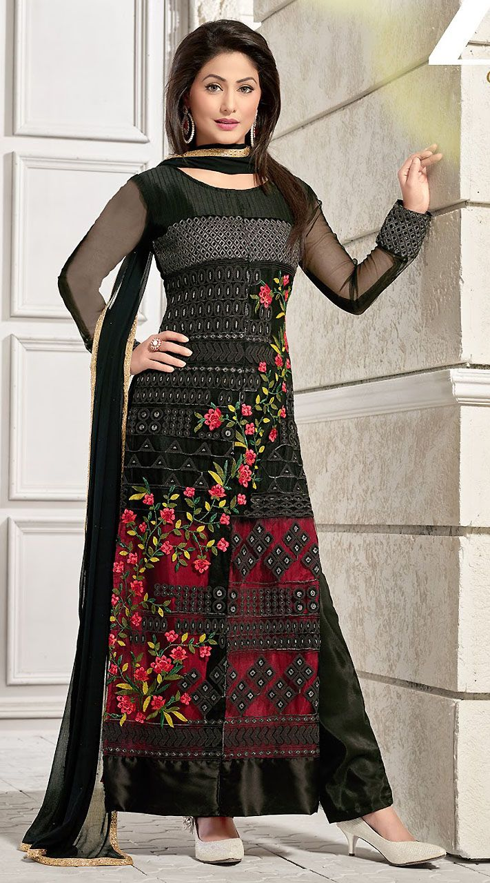 5aa57b4238 Fantastic Black Georgette T.V Actress Akshara Palazzo Pant Suit ...