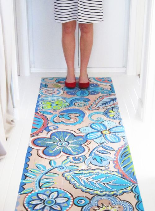 Diy Paint It To Look Like A Rug On Your Wood Floors