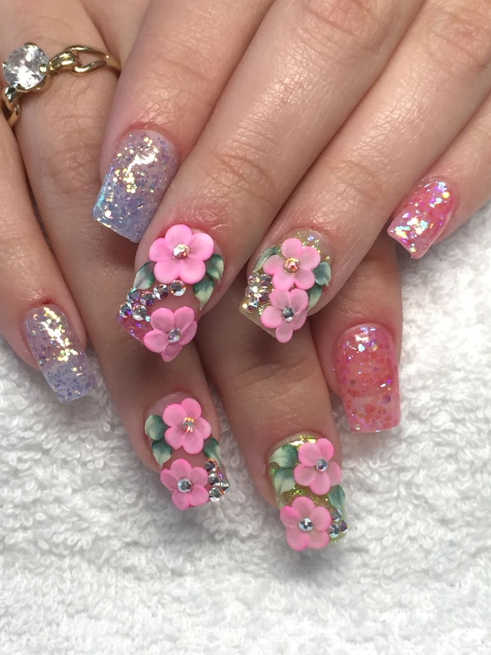 Spring Nails Design Acrylic Nails With 3d Acrylic Design Nail Designs Spring Nails Nail Designs