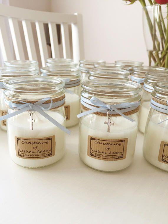 Baptism Favour Vegan Candle Glass Jar Keepsake