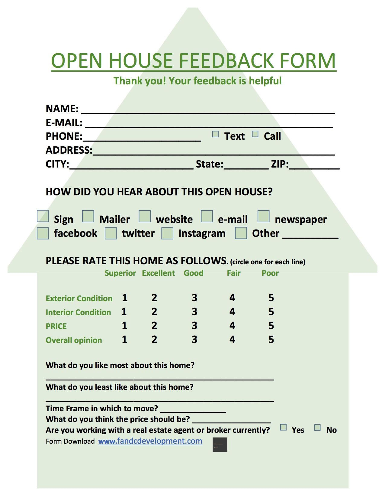 Real Estate Forms Open House Feedback Form Open House