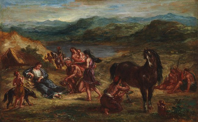 "French Artist Eugène Delacroix created the piece ""Ovid among the Scythians"" which currently is owned by the Metropolitan Museum of Art in 1862."