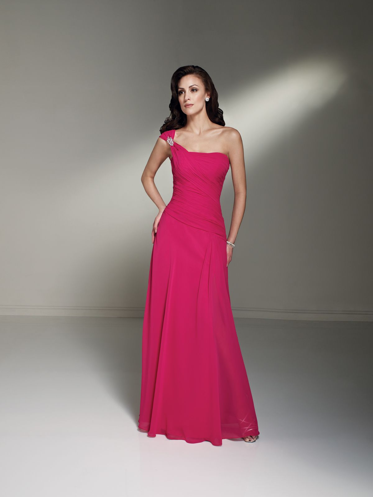 Sophia tolli turq or teal oneshoulder chiffon aline gown with