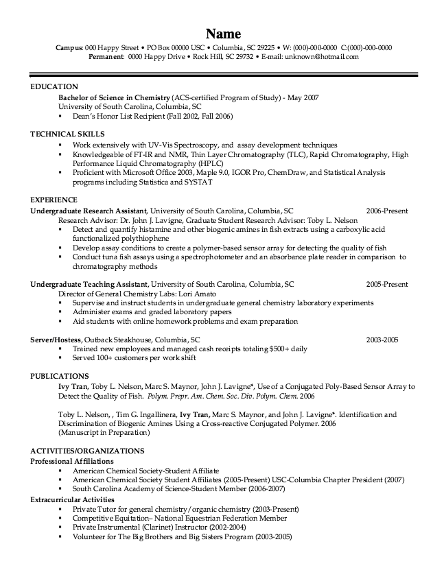 Example Of Chemistry Resume Examples Resume Cv