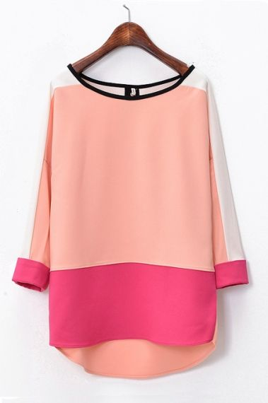 Macchina Womens Fashion Clothing Style Pink Coral Blouse