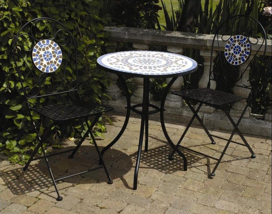 Backyard Patio Ideas : Patio Furniture Exquisite White Round Outdoor Patio  Table With Small Porcelain Mosaic