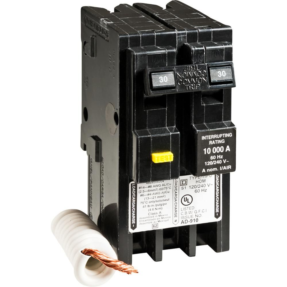 Square D Homeline 30 Amp 2 Pole Gfci Circuit Breaker Clear