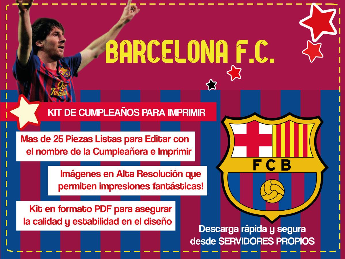Barcelona F C Kit De Cumpleaños Para Imprimir Tarjetas