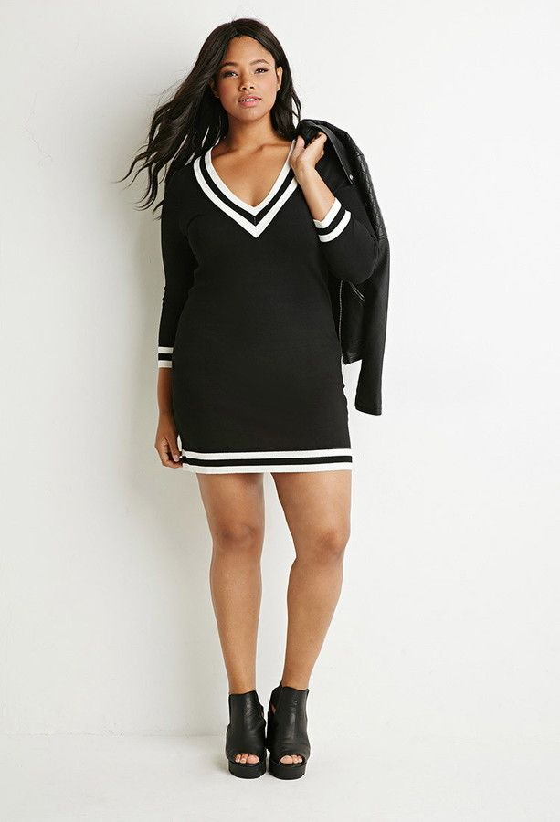 Forever 21 Plus Size Varsity Striped Sweater Dress Cute Curvy