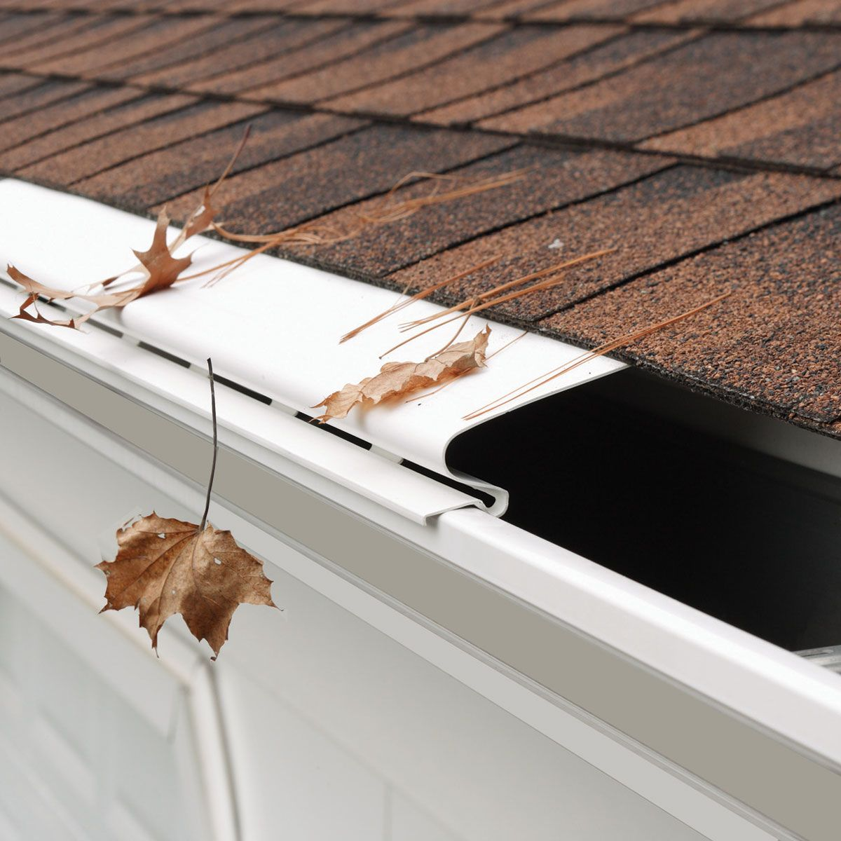 Keep Leaves And Debris Out Of Your Guttersour Solid Gutter Covers Are Made Of Rigid Pvc And Install Easily On 4 5 And 6 Metal Gutter Guard Gutter Gutters