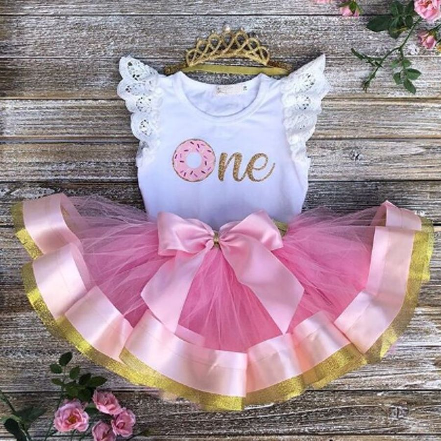 Toddler Baby Girl 1st Birthday Lace Outfit Romper Top Tutu Skirt Cake Smash Set