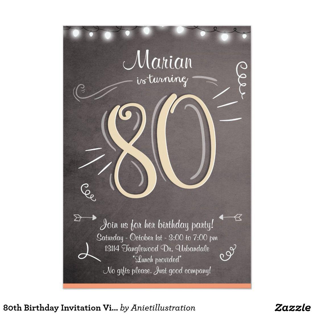 80th Birthday Invitation Vintage Eighty Birthday 80th