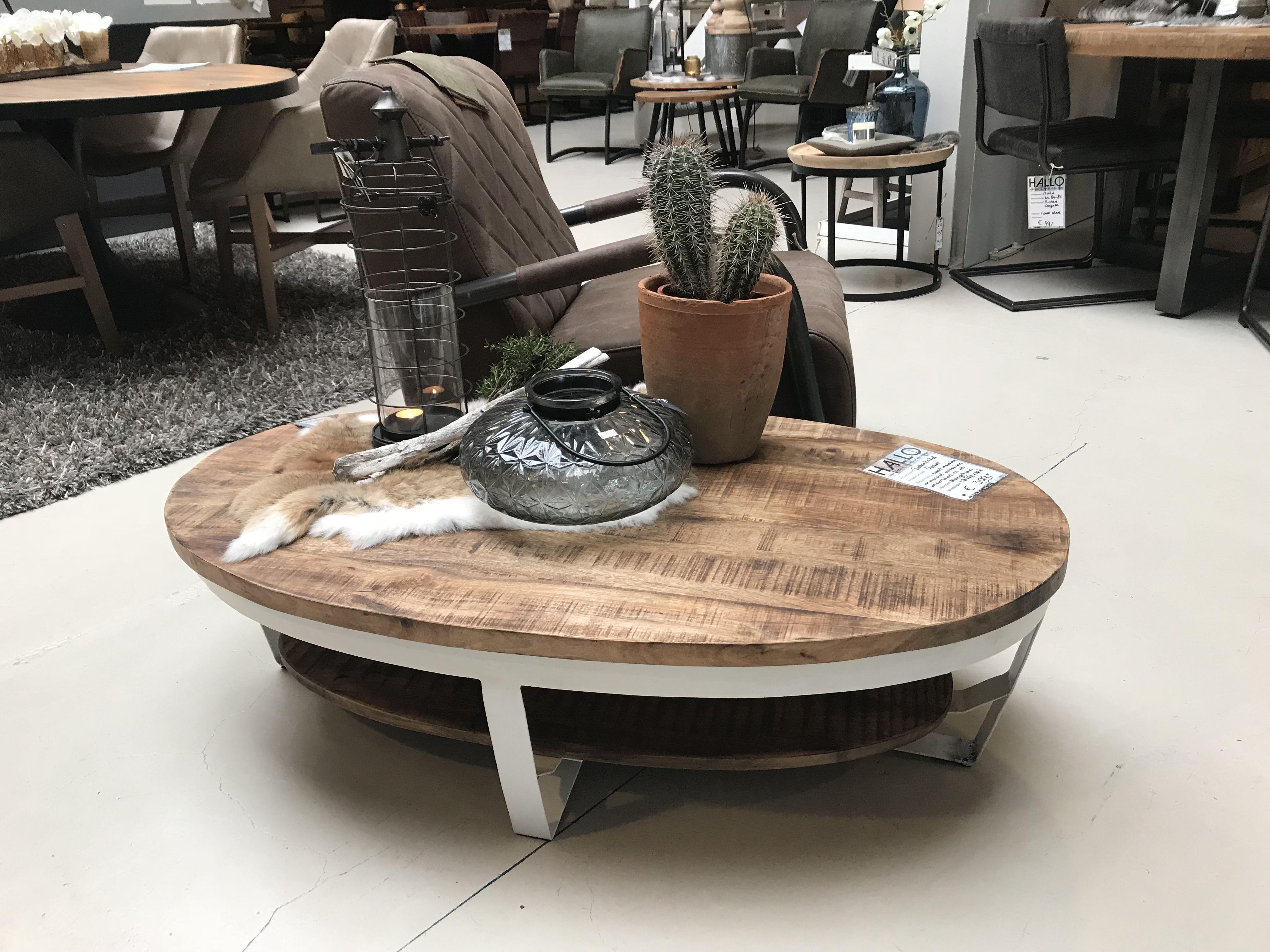 Houten Salon Tafel : Salontafel ovaal industrieel speciaal deze salontafel met