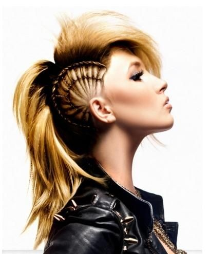 Holy cow I wish I was actually good at doing hair. I LOVE this for the faux hawk look - And you can take it out .