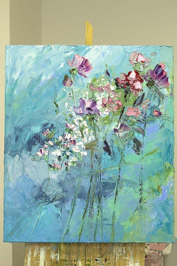 Blue White Emerald Lilac Purple Navy Art Work Extra Large