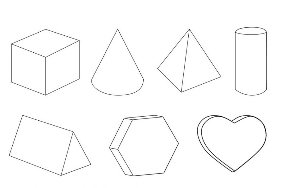 Geometric 3D Shapes free educational coloring pages online | Fun ...