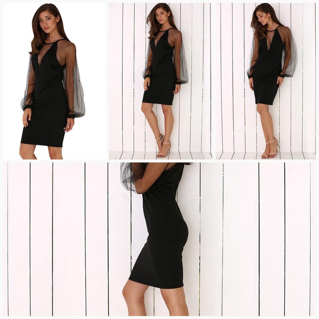 Elegant Round Collar Lantern Sleeve Spliced See Through Black Dress For Women Womens Black Dress Dresses Women [ 1080 x 1080 Pixel ]