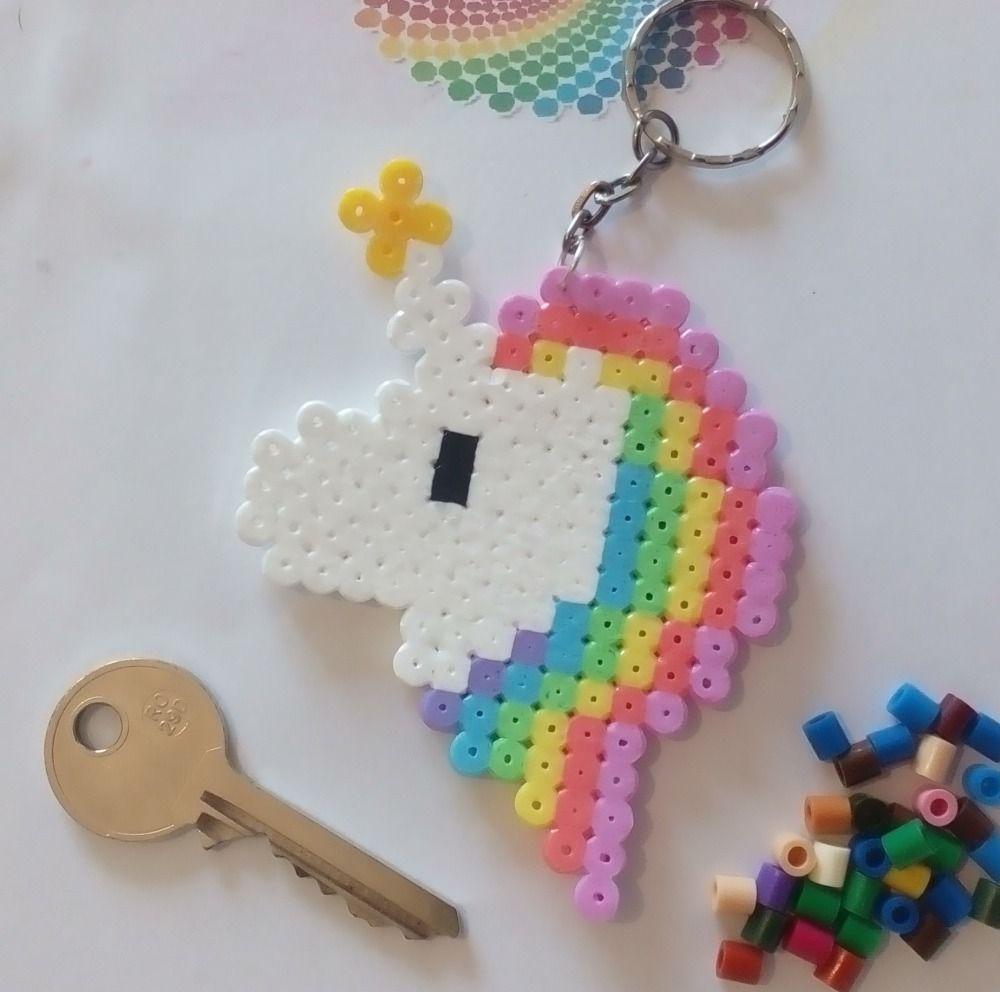 Porte Clés En Perles Hama Pixel Art Licorne Arc En Ciel