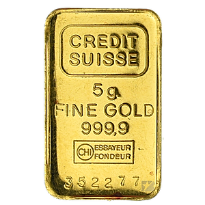 Credit Suisse Gold Bar Circulated In Good Condition 5 G 5 Gram Gold Bar Manufactured By Valcambi Each Gold Bar Gold Bar Gold Bullion Bars Credit Suisse