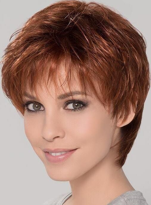 Synthetic Perfect Cropped Auburn Wavy Monofilament