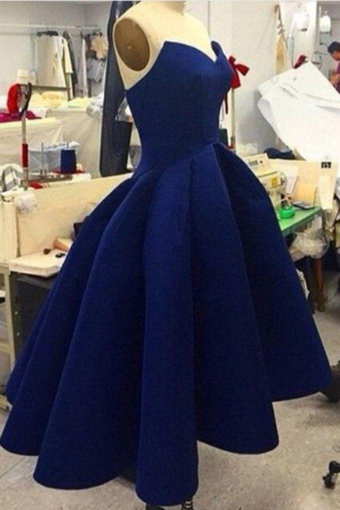 114b2ddb9a06c 2018 cheap Navy blue satins sweetheart high-low cheap short dresses,simple prom  dress