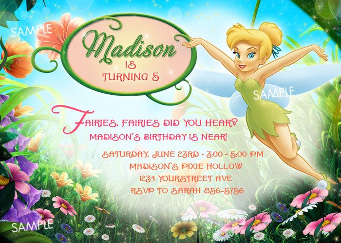 Tinkerbell Invitation bubble with name Parties – Tinkerbell Birthday Invites