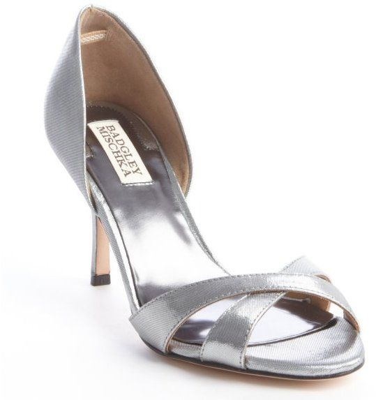 Badgley Mischka silver shimmering fabric 'Mystery' sandals