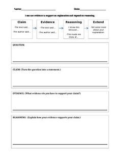 Image Result For Claim Evidence Reasoning Template  Claim