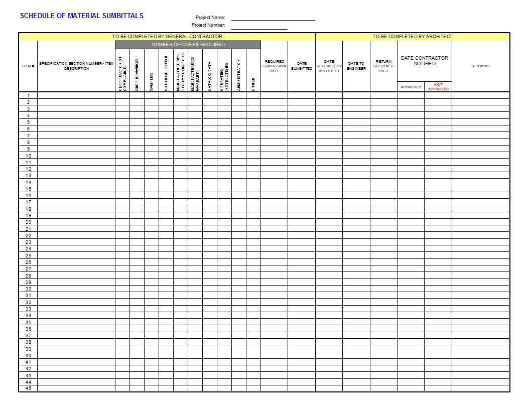 Submittal Log  Template Microsoft Excel And Project Management