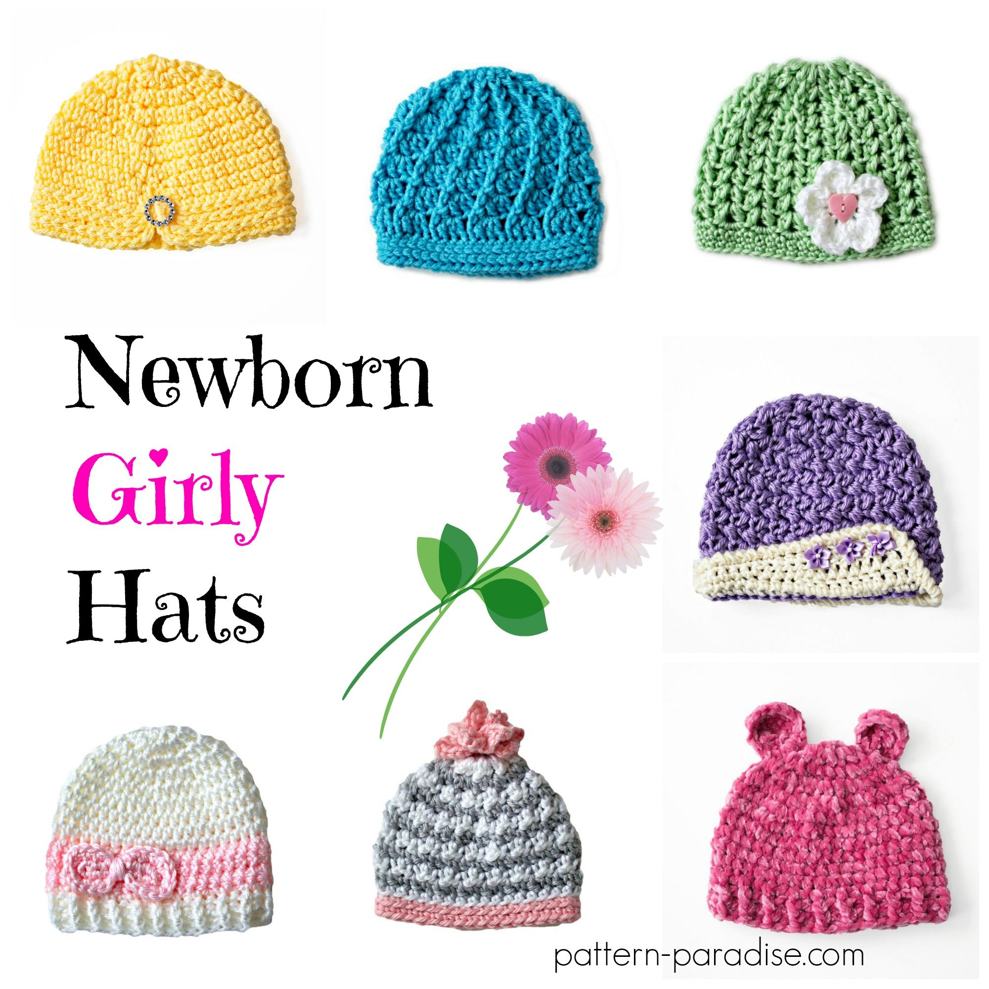 Crochet Pattern: Newborn Girly Hats | Newborn hats, Crochet and Patterns