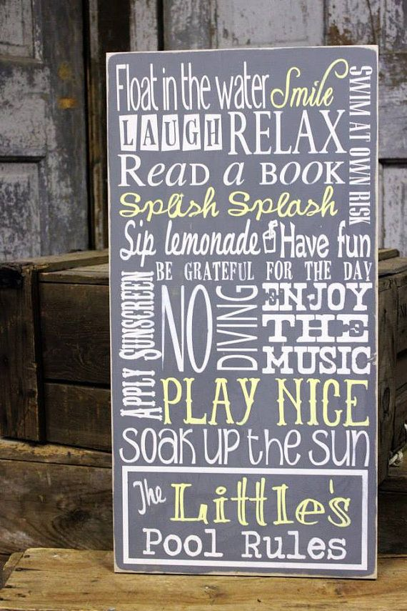 Pool sign personalized pool sign pool rule sign for Pool design rules